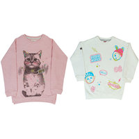 Indirang combo of 2 assorted sweatshirts for winters for girls