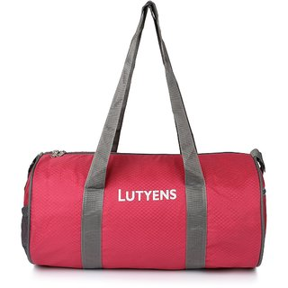 Lutyens Red Grey Polyester Drum/Gym Bags (18 Liters)