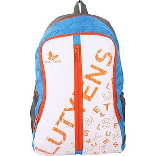 Lutyens White Blue 20Litres Polyester School Bags (Lutyens_121)