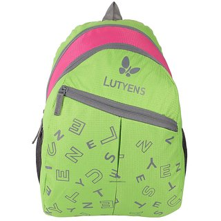 Lutyens Polyester 20Ltrs Green Pink School Bags (Lutyens_107)