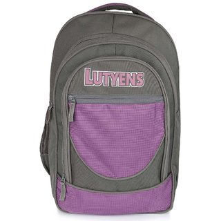 Lutyens Grey Purple Polyester School Bags (30 Liters)