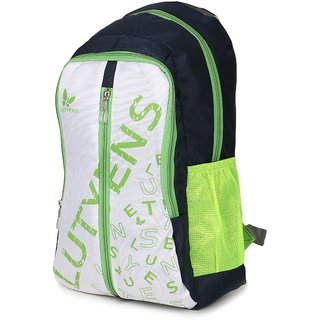 Lutyens Blue White Green Casual School Bags (22 Liters)