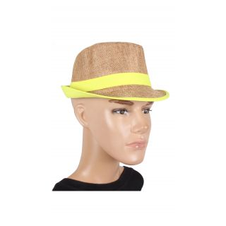 Brown With Yellow Lace Fedora Hat For men
