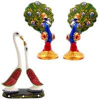 Halowishes Enamel Work Dancing Peacock Pair  Pair Of Swan Showpiece Combo Set-685