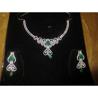 Exclusive Stunningly Beautiful Jarkan Diamond Necklace Set With Green Stone