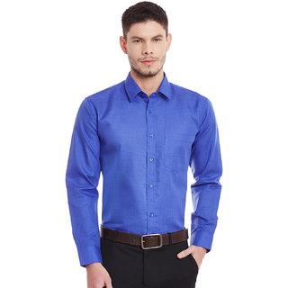English Navy Slim Fit Royal Blue Solid Formal Shirt