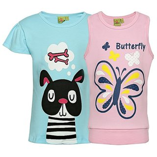 Punkster 100 Cotton Blue Cap Sleeves Top For Girls