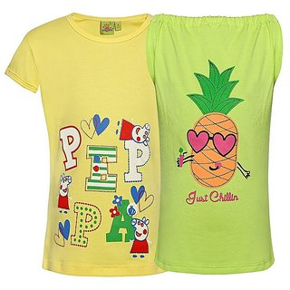 Punkster 100 Cotton Yellow Cap Sleeves Top For Girls