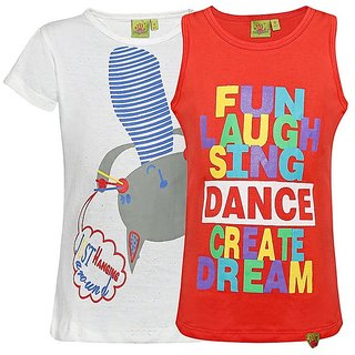 Punkster 100 Cotton White Cap Sleeves Top For Girls
