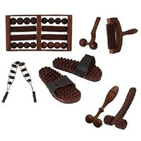 Desi Karigar Complete Kit Of 7 Pc Wooden Acupressure Massager Set (Foot / Feet, Roller, Hand, Face, Back Cutter Massager