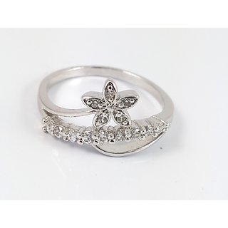 Amicable Affinity Floral G-Silver Cubic Zircona Ring For Women