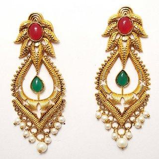 The99Jewel by JewelMaze Zinc Alloy Gold Plated Maroon  Green Pota Stone Dangle Earrings-AAA0983