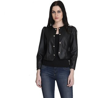 Westrobe Black Faux Leather Biker Jacket For Women
