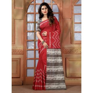 Vaikunth Red colour Bhagalpuri Silk printed Saree with unstitched blouse