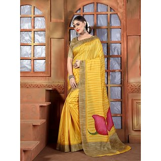 Vaikunth Yellow colour Bhagalpuri Silk printed Saree with unstitched blouse