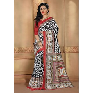 Vaikunth Multicolour Bhagalpuri Silk printed Saree with unstitched blouse
