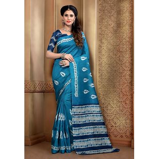 Vaikunth Blue colour Bhagalpuri Silk printed Saree with unstitched blouse