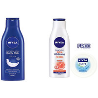 Nivea Body Lotion Extra Whitening of 200ml and Nourishing Lotion Body Milk of 200ml