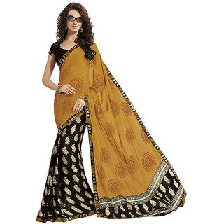 Subhash Daily Wear Black and Mustard Color Chiffon and Sateen Saree/Sari