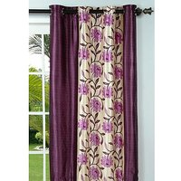 Deal Wala Pack Of 2 Flower With Border Design Eyelet Door Curtain (code-nit02)