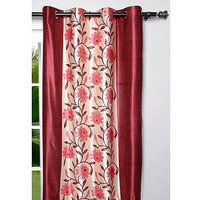 Deal Wala Pack Of 2 Flower With Border Design Eyelet Door Curtain (code-nit03)