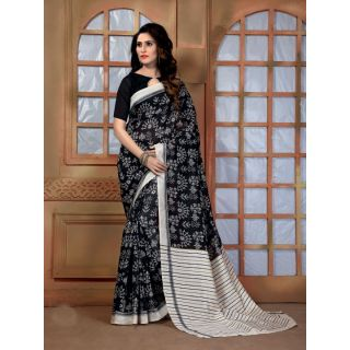 Vaikunth Black colour Bhagalpuri Silk printed Saree with unstitched blouse