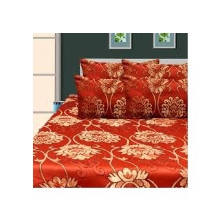 Silicon City Double Bed Sheet With 2 Pillow Cover - Rust