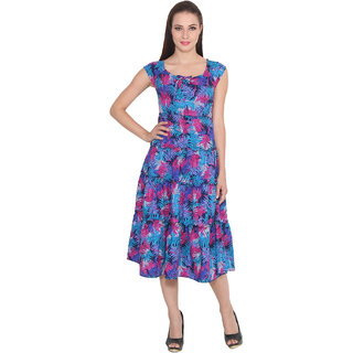 Lee Marc Blue Printed Fit & Flare Dress For Women