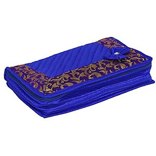 Kuber Industries Designer Jewellery Box In Heavy Quilted Material (Blue ) KI0081103