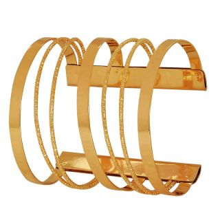 Maayra Women's Exquisite Brass Gold Plated Adjustable size Cocktail Cuff