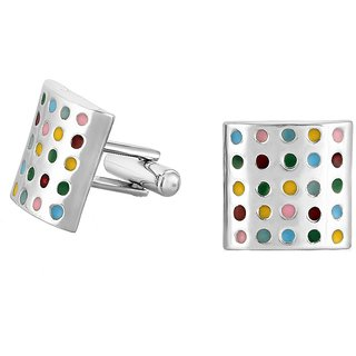 Mahi Rhodium Plated Multicolored Candy Crush Cufflinks for Men CL1100276R