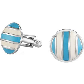 Mahi Rhodium Plated Blue and White enameled Sailor Cufflinks for Men CO1100277R
