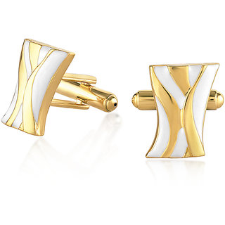 Mahi Gold plated White Organic Abstract Cufflinks for Men CL1100279G
