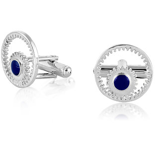 Mahi White Rhodium plated Blue Gear Cufflinks For Men CL1100280R