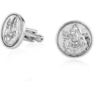Mahi White Rhodium plated Round Disc Shiva Cufflinks for Men CL1100281R