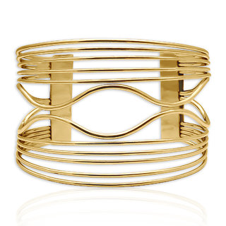 Spargz Gold Plated Overlapping Wire Cuff Bangles Bracelets for Girls  Women AISK 179