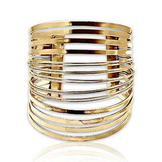 Spargz Gold Plated Overlapping Wire Cuff Bangles Bracelets for Girls  Women AISK 182