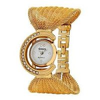 Glory Round Dial Golden Leather Strap Womens Mechanical Watch