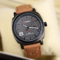 Stylish Curren Watch For Mens In Leather Strap  Black Dial