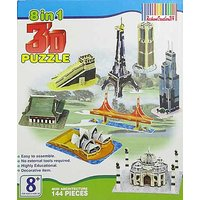 8 In 1 3D Monuments Puzzle Game DIY Kids Toys Play Mini Architecture Educational