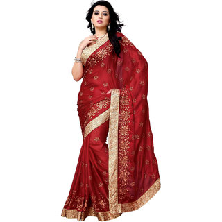 Women's Gerogette Red Saree With Blouse