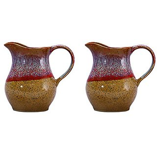 Water Jug/Pitcher Ceramic/Stoneware in Matte Brown and Multicolor Studio (Set of 2) Handmade By Caffeine