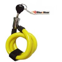 BikenWear Multipurpose Spiral Locks For Cycle  Motorcycle With Keychain color Yellow Lenght-28 inches