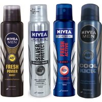 Nivea Men Fresh Power Boost, Silver Protect, Fresh Active, Cool Kick Deo For Men Of 150ml Each