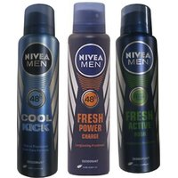 Nivea Men Cool Kick, Fresh Power Charge, Fresh Active Rush Deo For Men Of 150ml Each