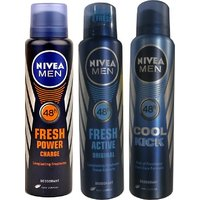 Nivea Men Fresh Power Charge, Fresh Active Original, Cool Kick Deo For Men Of 150ml Each