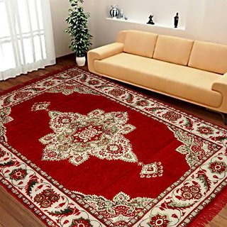Akash Ganga Premium Quality Chenille Carpet (1 pc) Size 5X7 FEET (Carpet-04)
