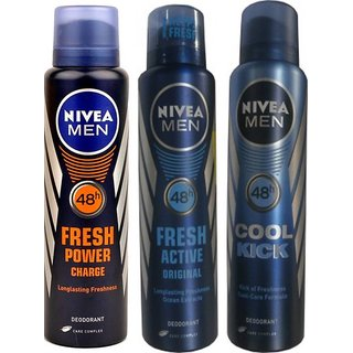 Nivea Men Fresh Power Charge Fresh Active Original Cool Kick Deo For Men of 150ml Each