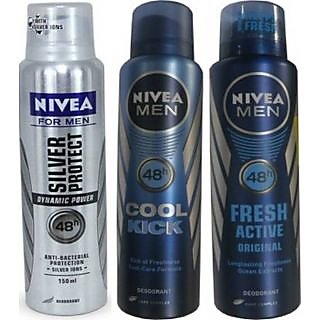 Nivea Men Silver Protect Cool Kick Fresh Active Original Deo For Men Of 150ml Each
