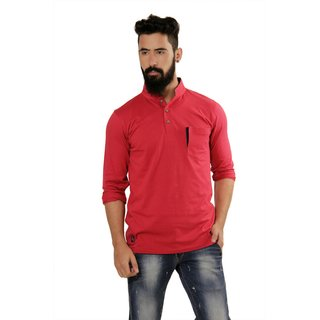 Nucode Burgundy Red Full Sleeves Mens Kurta